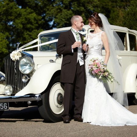 Classic Wedding Car outside Wherstead Park